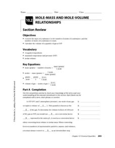 Mole-Mass and Mole-Volume Relationships Worksheet