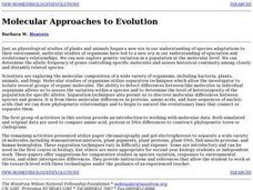 Molecular Approaches to Evolution Lesson Plan