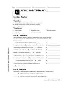 Molecular Compounds Worksheet