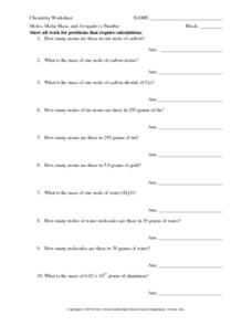 Printables Molar Mass Worksheet moles molar mass and avogadros number 10th 12th grade worksheet