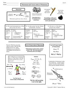 Printables Momentum Worksheet momentum and conservation of 9th 12th grade worksheet worksheet