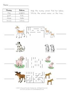 Mommy and Baby Animals 2 Worksheet
