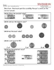 Money: Comparing Bills and Coins Worksheet