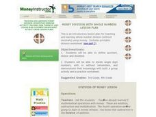 Money Division With Whole Numbers Lesson Plan Lesson Plan