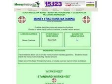 Money Fractions Matching Lesson Plan