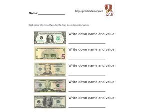 Money Names and Value Worksheet
