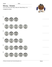 Money - Nickels Worksheet