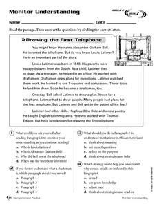 Monitor Understanding: Drawing the First Telephone Worksheet