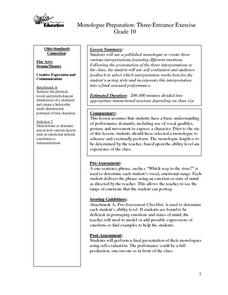 Monologue Preparation Lesson Plan