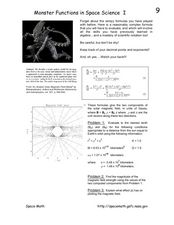 Monster Functions in Space Science I Worksheet