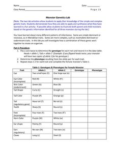 Monster Genetics Lab 6th - 10th Grade Worksheet | Lesson ...