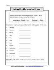 Month Abbreviations Worksheet