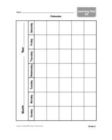 Month Calendar Worksheet