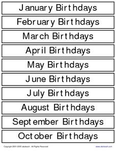Monthly Birthdays Worksheet