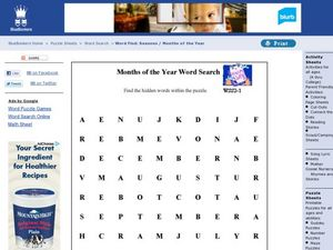 Months of the Year Word Search Worksheet