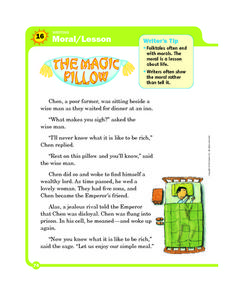 Moral/Lesson: The Magic Pillow Worksheet