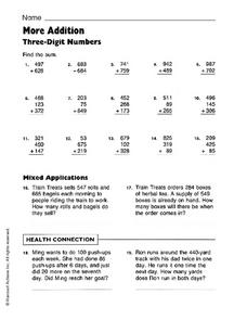 More Addition: Three-Digit Numbers Worksheet
