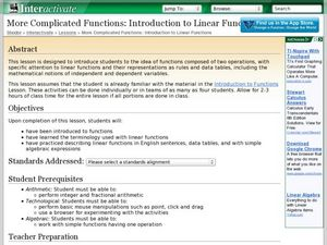 More Complicated Functions: Introduction to Linear Functions Lesson Plan
