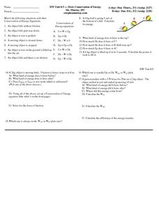 More Conservation of Energy Worksheet