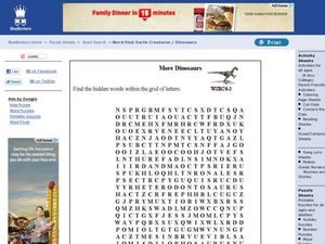 More Dinosaurs: Word Search Worksheet
