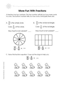 More Fun With Fractions Worksheet