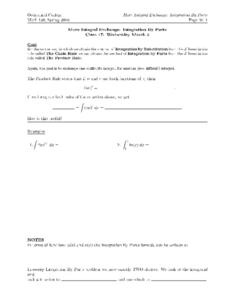 More Integral Exchange:  Integration By Parts Worksheet