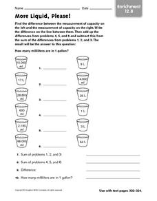 More Liquid, Please! - Enrichment 12.8 Worksheet