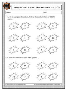 More or Less (Numbers to 10) Worksheet