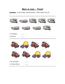 More or Less - Travel Worksheet
