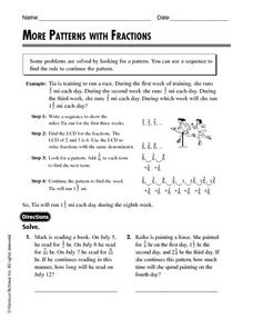More Patterns With Fractions Worksheet