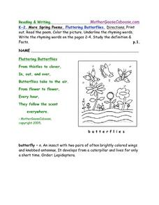 More Spring Poems: Fluttering Butterflies Worksheet