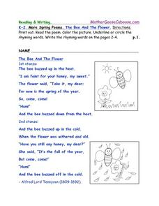 More Spring Poems: The Bee And The Flower Worksheet