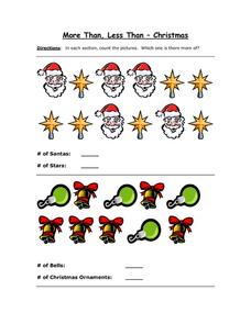 More Than, Less Than - Christmas Part 3 Worksheet