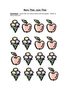 More Than, Less Than - Ice Cream Cones and Apples Worksheet