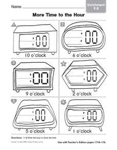 More Time to the Hour: Enrichment Worksheet