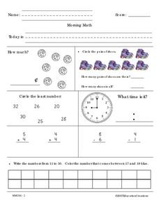 Morning Math 2 Worksheet
