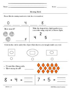 Morning Math and Math Homework Worksheet