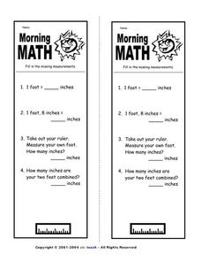 Morning Math Measurement Worksheet