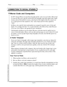 Morse Code and Computers Worksheet