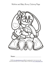 Mother And Baby Bunny Coloring Page Worksheet