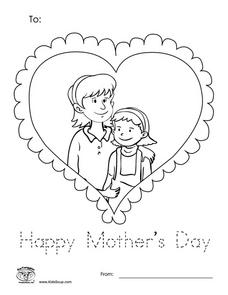 Mother's Day Coloring Sheet Worksheet