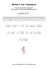 Mother's Day Cryptogram Worksheet