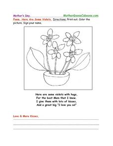 Mother's Day Poem- Here are Some Violets Coloring Page Worksheet