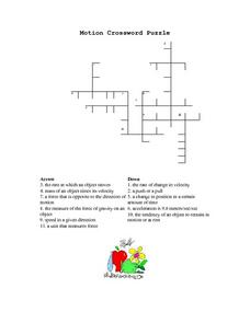 Motion Crossword Puzzle Worksheet