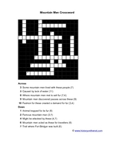 Mountain Men Crossword Worksheet