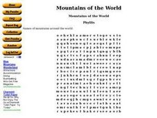 Mountains of the World Worksheet