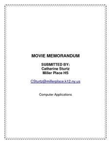 Movie Memorandum Lesson Plan