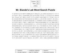 Mr. Biando's Lab Word Search Puzzle Worksheet