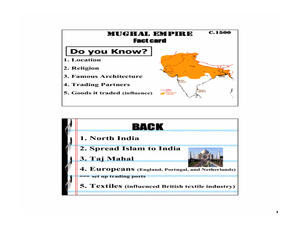 MUGHAL EMPIRE  Fact card Lesson Plan