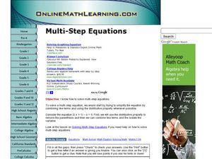 Multi-Step Equations Worksheet